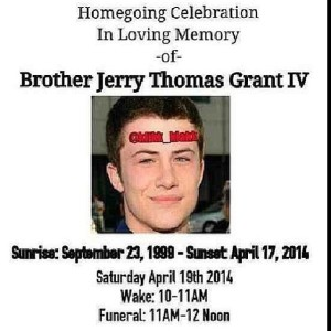 Funeral Program for Gerry Thomas Grant IV